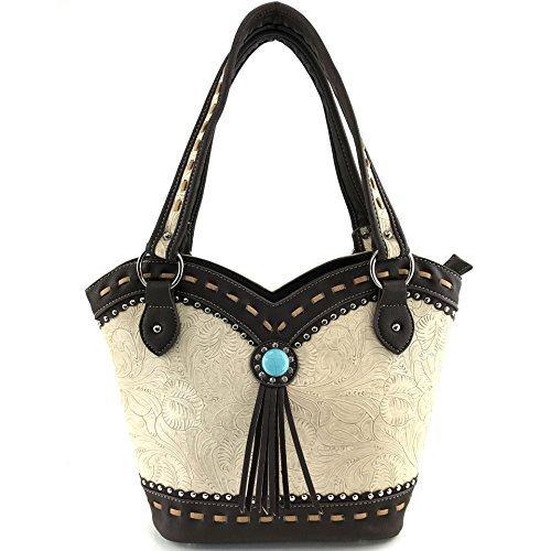 (Justin West Tooled Western Leather Turquoise Stone Fringe Studded Shoulder Concealed Carry Handbag Purse (Beige Tote))