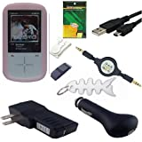 9 Piece Premium Value Combo Accessory Bundle Kit: Pink Silicone Skin Case Cover + USB Car Charger + USB Wall / Travel / AC Adapter Charger + USB 2in1 Data Sync Cable + Armband + Belt Clip + 3.5mm Aux Retractable Cable + Screen Protector / Guard + Fishbond