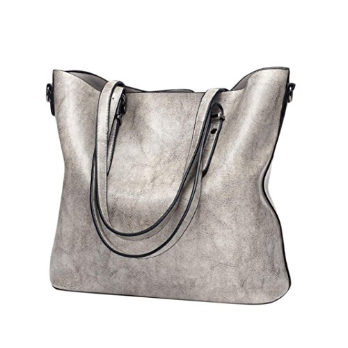 Women Retro Bag, Among Fashion Crossbody Bundle Shoulder Zipper Handbag Bucket Messenger Casual Tote Package (32cm(L)12cm(W)29.5cm(H), Gray)