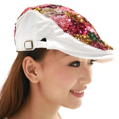 Sequin Newsboy Hat Cap - Locomo Colorful Multicolor Sequin Glitter Newsboy Beret Cap Hat White FFH037WHT