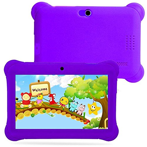 Kids Tablet PC 7 Android 4.4 Case Bundle Dual Camera 1.2Ghz Wi-Fi Bonus Items (7'', Purple) by Besde