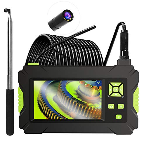 HAWKFOCE Industrial Endoscope, 4.3inch Dual Power Supply Endoscope Camera HD 1080P IP67 Waterproof Inspection Camera with Telescopic Stick/16.4ft Cable/Card Reader/Accessories.
