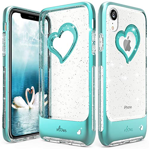 Vena iPhone XR Case, [vLove] Silver Glitter Bling Heart Case Cover Slim Dual Layer Protection Compatible with Apple iPhone XR - Teal/Clear Cut Out Heart Design