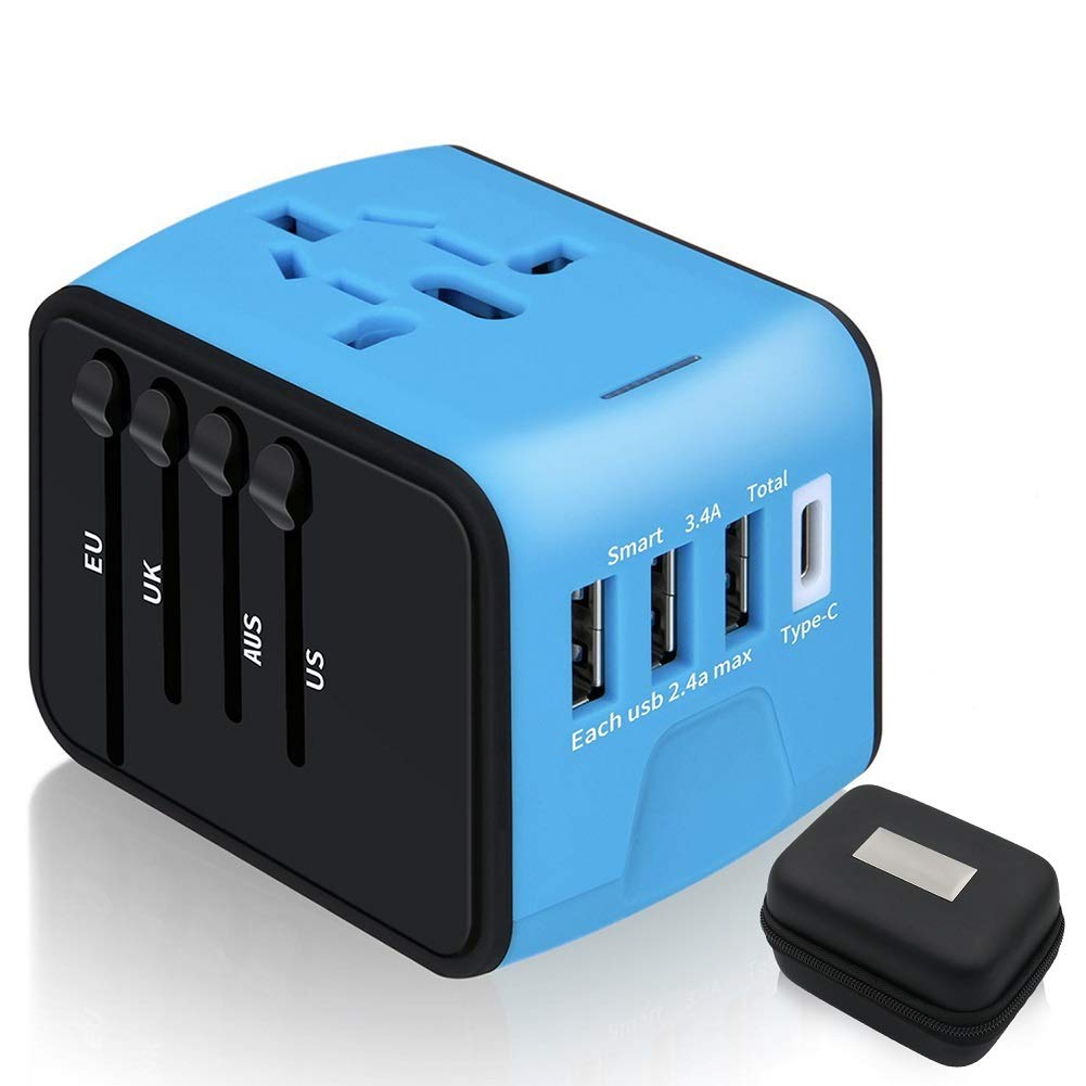 Travel Adapter,6Feeki International Power Adapter All-in-one USB Travel Adapter Universal adapter with 3-port USB Charger AC Wall Outlet Plugs For business travel of US, EU, UK, AU,150countries