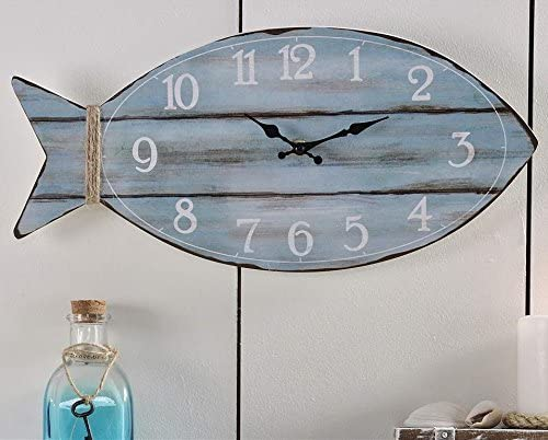 Giftcraft Fish Shaped Wall Clock in Distressed Ocean Blue Finish