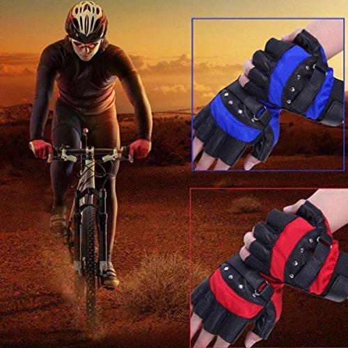 Sinwo Soft Sheep Leather Driving Motorcycle Gloves Biker Fingerless Warm Gloves Biker Gloves Cycling Gloves Outdoor Sport Gloves (Blue)