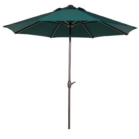Abba Patio Outdoor Patio Umbrella 9 Feet Patio Market Table Umbrella with Push Button Tilt and Crank, Dark Green