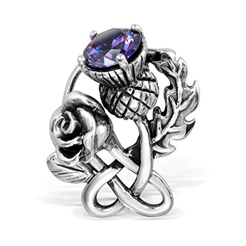 Pin Sterling Silver Cameo - WithLoveSilver 925 Sterling Silver Celtic Classic Scottish Style Thistle Heart Rose Simulated Cubic Zirconia Brooch