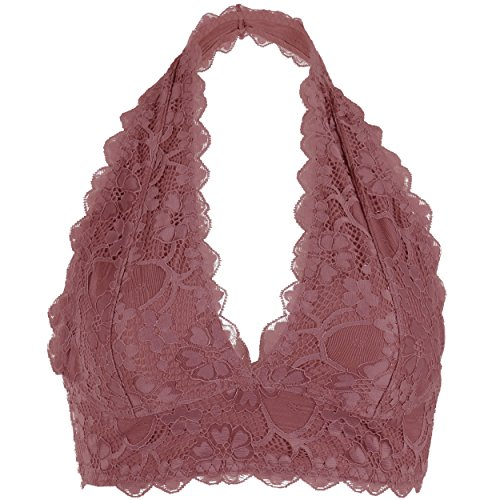 Halter V Neck Flora Lace Un Pad Bralette Top Sheer Bra Bustier Crop Wireless Lingerie  Medium  Dk  Rose