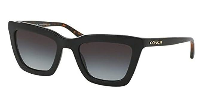 b916e04aec Coach Women s HC8203F Sunglasses Black Black Tortoise Light Grey Gradient  54mm