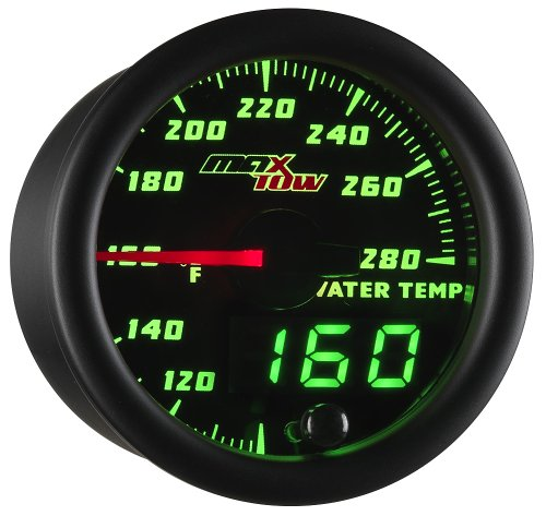 MaxTow Double Vision 280 F Water Coolant Temperature Gauge Kit - Includes Electronic Sensor - Black Gauge Face - Green LED Illuminated Dial - Analog & Digital Readouts - For -