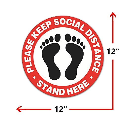 Social Distancing Floor Decals [10 Pack, 12\'\'], SZSY Waterproof Social Distancing Sign Adhesive Vinyl Safety Floor Stickers – Stand Here – for Business Work Hanging Out (Red)