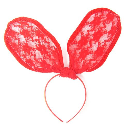 See-thru Lace Covered Bunny Ears Celebrity Style Halloween Costume Headband / Hairband in Red