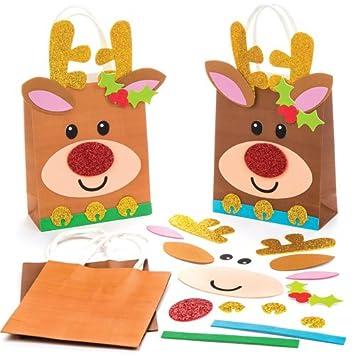 683273ccd Baker Ross Kits de Bolsas de Regalo con Cara de Reno, Decoraciones y Manualidades  Infantiles (Pack de 4).: Amazon.es: Juguetes y juegos