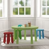 Kids Table and Stools Set 1 Green Table , 1 Green , 1 Red and 1 Blue Chair Children's Set Plastic Durable Easy to Clean , Great for Playing , Learning , Eating