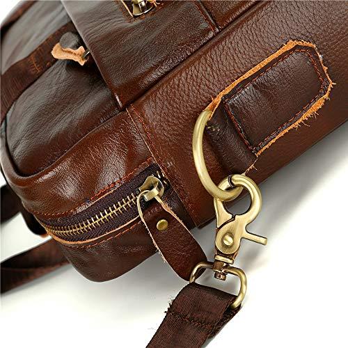 Vintage maletín Messenger XBCC Leather la de hombro bolso mochila para Portátil 2 de del de la Leisure computadora pulgadas Laptop hombre Business impermeable bolso 14 bag RYzpAwqxz