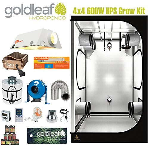 Complete 4 x 4 Grow Tent Kit w/ 600W Sealed HPS HID, Electronic Ballast, Carbon Filter, Fan and more