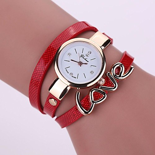 New Mens Watches, Fashion Women Watch Fashion, Leather Crystal Bracelet Ladies Quartz Analog Wrist Watch HOT, The precise surface decent watch is very charming for all occasions (Shipping faster than the time specified.) RED - Casio G Shock Aviator