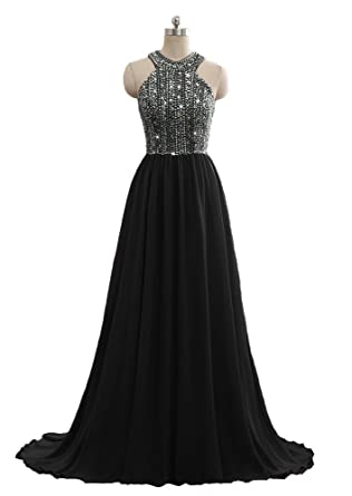 c9fbb02470d Still Waiting Women s Sparkly Crystal Prom Dresses Long 2018 Beading  Chiffon Evening Gowns Formal C010 Black