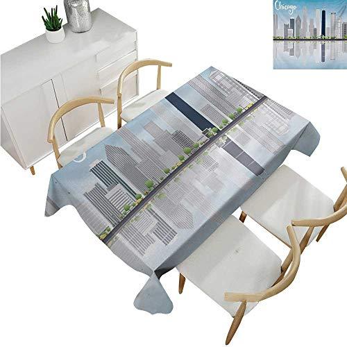"familytaste Chicago Skyline,Wedding tablecloths,Skyscrapers Lake Michigan Illinois Classic American Scenery Street,Dinner Picnic Table Cloth 54""x 72"""