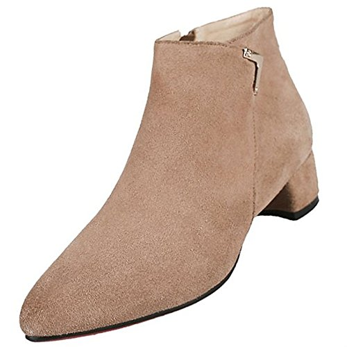 Kaki HSXZ Khaki stivali punta Comfort Chunky inverno pu Scarpe tonda nero donna Mid Calf tallone per Outdoor scarponi qx8nrTZqw