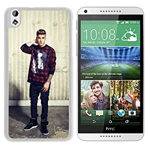Fashionable Custom Designed Hard Shell Case For HTC Desire 816 With justin bieber 1 White Phone Case