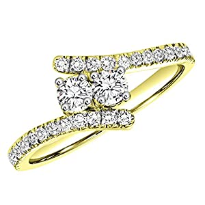 1.00 Ct. 2 Stone Natural White Diamond Engagement Ring In 14K Yellow Gold For Women