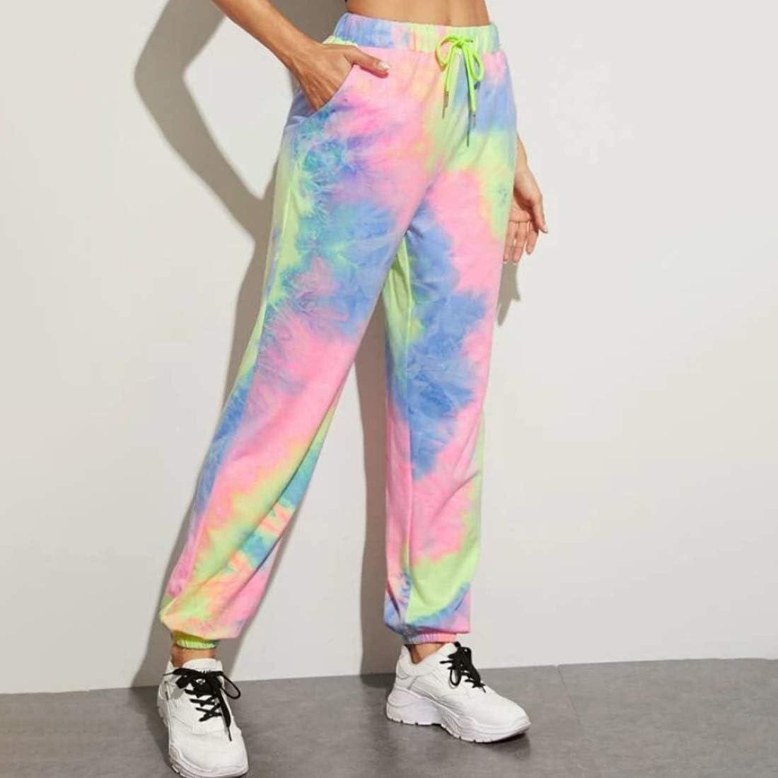 Ai.Moichien Pantaloni Sportivi Elastici da Donna Pantaloni Stile Harem con Stampa Tie Dye