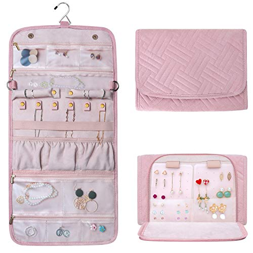 - Refrze Hanging Jewelry Organizer Roll, Travel Jewelry Organizer, Foldable Jewelry Bag Case, Jewelry Storage Bag Organizer for Journey-Rings, Necklaces, Earrings, Compact and Easy to Carry Large Pink