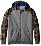 Lucky Brand Little Boys' Toddler Camo French Terry and Chambray Raglan Hoodie, Dark Heather, 3T