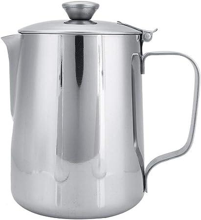 600ML-Argent Tazza caff/è acciaio inox latte Brocca con brocca e coperchio caff/è Art cucina ufficio con manico