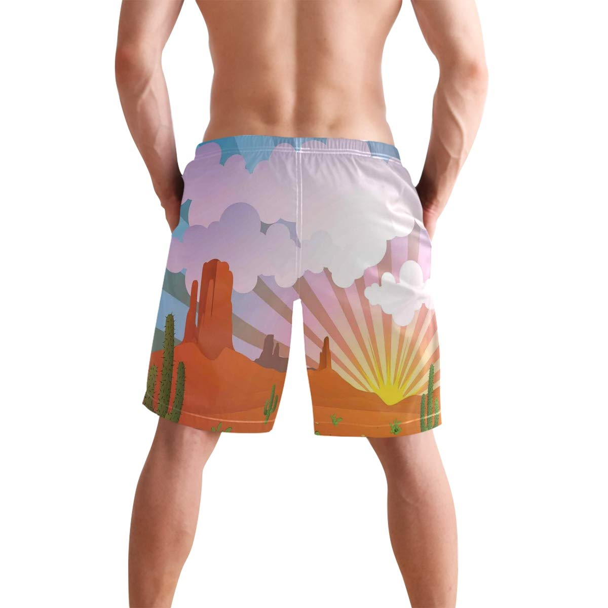 COVASA Mens Summer ShortsAbstract Curved Thin Stripes Color Line Concept Art C