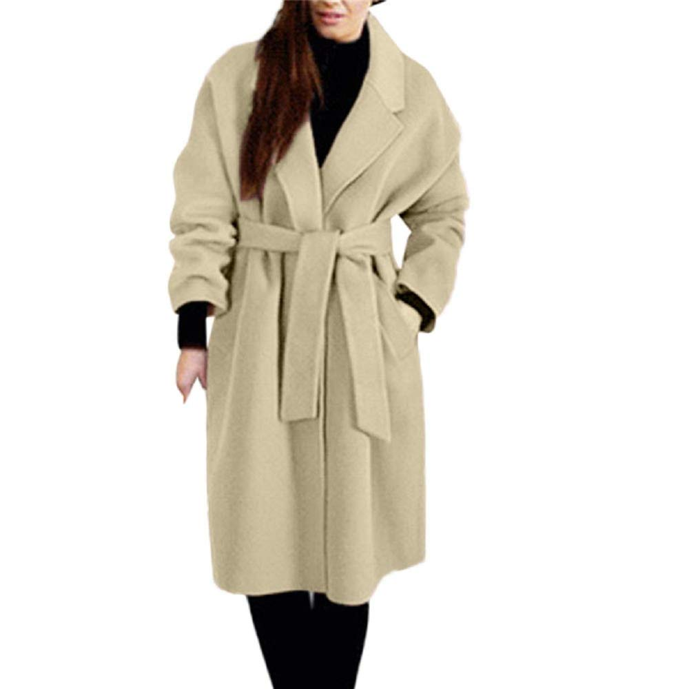 Khaki Cloudless Women's Woolen Belt Solid color Jacket Pocket Long Coat