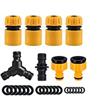 Topways? Hose Connector Fitting Set, including Hose End quick Connector, 2in1 Threaded Tap Connector, Double Male Snap Connector, Hose Y Splitter Connector, Hose Washer & O rings Spares Kit
