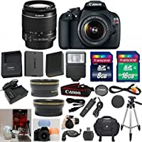 Canon EOS Rebel T5 DSLR CMOS Digital SLR Camera and DIGIC Imaging 33rd Street Starter Bundle with EF-S 18-55mm f/3.5-5.6 IS Lens + Wide Angle Auxiliary Lens + Telephoto Auxiliary Lens + Extra High Capacity Battery + Extra Worldwide Use Charger + Digital Flash + 6pc Commander Starter Kit + 24GB Accessory Kit Basic Facts Review Image