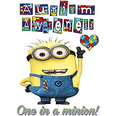 Autism Awareness - Featuring Minion - One in a Minion - Iron On Heat Transfer 6.5  x 9