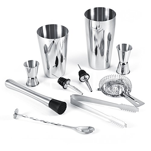 Cocktail Shaker,Richer-R 10Pcs Stainless Steel Cocktail Shaker Bar Set with Shakers Measuring Cups Ice Tong Crusher Strainer Pourers Mixing Spoon Bar Tools
