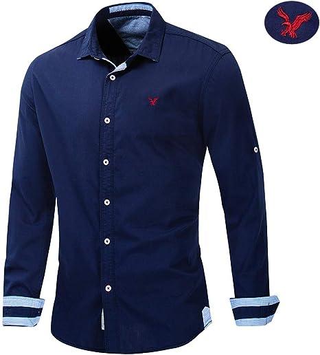 X&Armanis Camisa Casual de Negocios para Hombre, Camisa Transpirable de Solapa Bordada de algodón Camiseta otoño Manga Larga (Azul Oscuro),2XL: Amazon.es: Deportes y aire libre