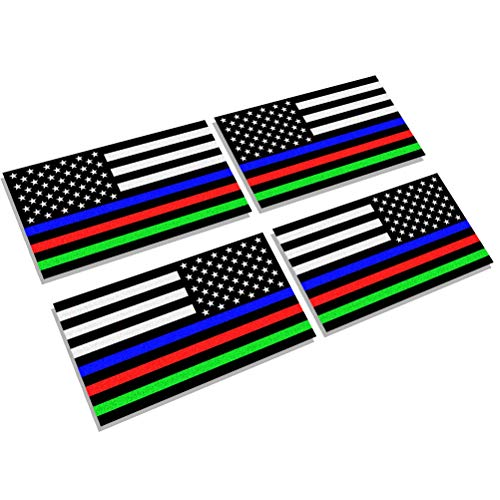 Creatrill Reflective Thin Blue Red Green Line Decal Matte Black – 2 Pairs 3x5 in. American USA Flag Decal Stickers for Cars, Trucks, Hard Hat, Support for Police Fire Officers Military Troops -