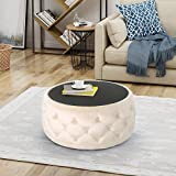 Ivy Glam Velvet and Tempered Glass Coffee Table Ottoman, Beige