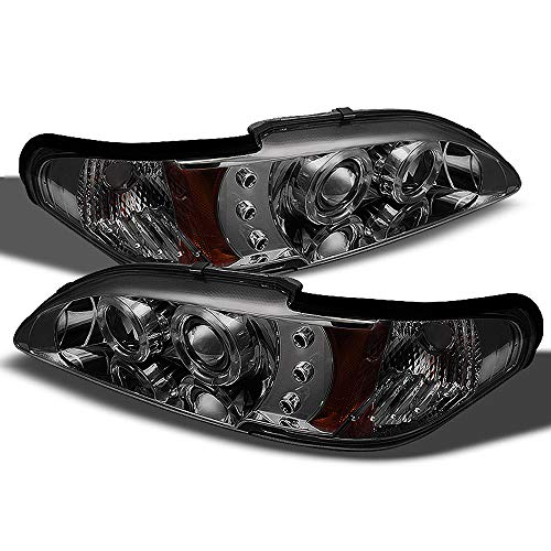 Mustang Dual Projector - ACANII - For 1994-1998 Ford Mustang LED Dual Halo Ring Smoked Lens Projector Headlights Headlamps, Driver & Passenger