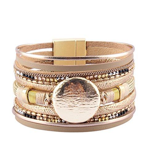 Bfiyi Leather Cuff Bracelet Handmade Jewelry Lucky Charm Rhinestone Friendship Bracelet Women,Girls,Kids