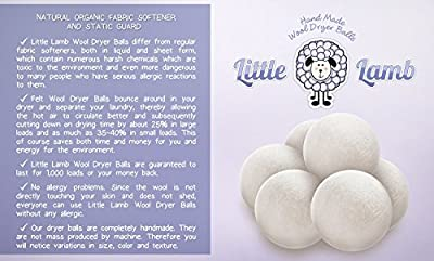 Wool Dryer Balls with Free Gift Bag - 100% Premium Organic Felt - SOLID - No Fillers like Cheaper Brands. Must Have for Cloth Diaper Laundry Detergent (XL, Handmade, Eco-friendly, Baby Safe, All - Natural Fabric Softener) Pack of 4 - Perfect For Baby Gift