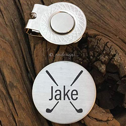 Personalized Name And Clubs Golf Ball Marker- Gift For Boyfriend Gift For Men Golfers Gift Anniversary Birthday Gift Husband Gold Club