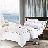 Deep Sleep Home 3pc Duvet Cover Set, 40s Cotton Sateen, Navy Blue Embroidered Lines, 250 Thread Count Percale, White Background, Double Full, Queen, King Size (Queen, Black)
