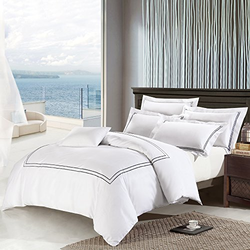 Deep Sleep Home 3pc Duvet Cover Set, 40s Cotton Sateen, Black Embroidered Lines, 250 Thread Count Percale, White Background, Double Full, Queen, King Size (Queen, Black-DP)