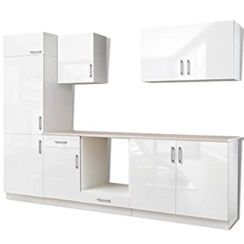 7 Pcs High Gloss White Kitchen Cabinet Unit For Built In Fridge 270