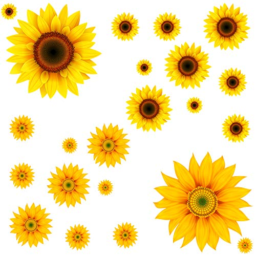 22Pcs DIY Sunflower Wall Sticker 3D Yellow Flower Wall Decals Peel and Stick Removable Wall Art Decor Nursery Daisy Floral Stickers for Kids Baby Living Room Decoration]()