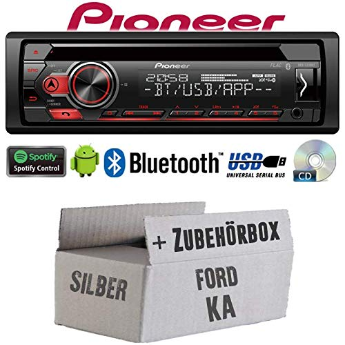 Ford KA - Autoradio Radio Pioneer DEH-S310BT - Bluetooth | Spotify | CD | MP3 | USB | Android | 4x50Watt Einbauzubehö r - Einbauset JUST SOUND best choice for caraudio FoKa_DEH-S310BT
