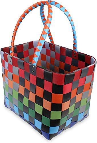 Große wasserabweisende Einkaufstasche - Henkeltasche - Tragetasche- Carrybag - geflochtener bunter Strandkorb Classic / Fruit 48REv
